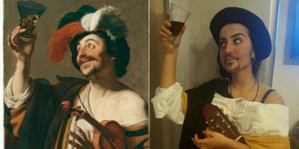 Allegro violinista con bicchiere di vino - Gherardo delle Notti
