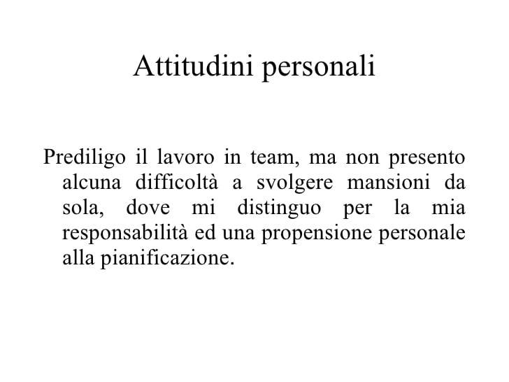 attitudine curriculum