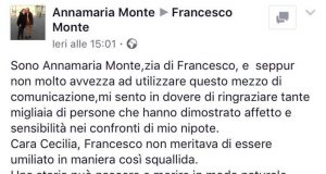 Francesco Monte: la zia Annamaria posta un messaggio su Facebook