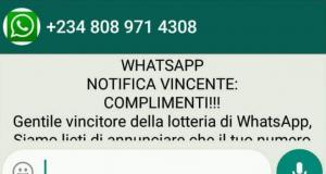 """Whatsapp """"Attenzione alla truffa"""""""